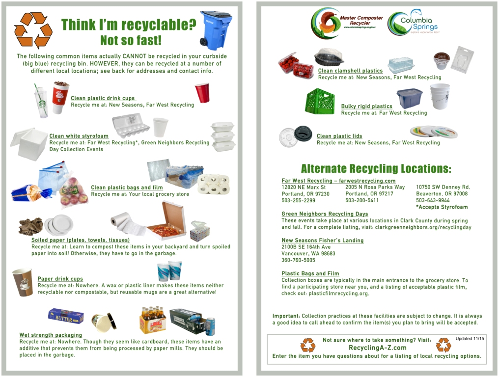 Fall 2015 Recycle Newsletter Recycling Instructions Non-Recyclables Flyer  Yard Debris Instructions No plastic ...